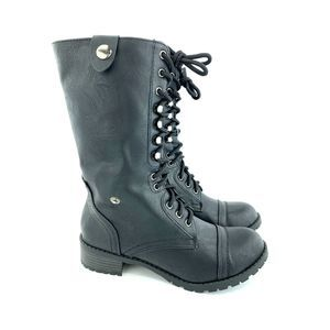 SODA Lace-up Combat Folded Cuff Boots 7